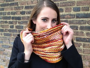 Garter Ridge Double Wrap Cowl designed by Kate Atherley. Photo by Shannon Okey / Cooperative Press