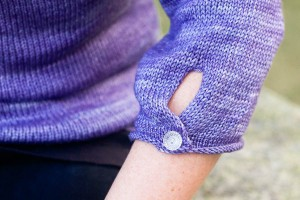 Raindrops Pullover designed by Emily Wessel, knit in SweetGeorgia Merino Silk Fine (Mist)