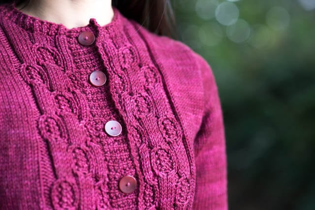 Nest Cardigan by Christina Harris, knit in SweetGeorgia Trinity Worsted (Oxblood)