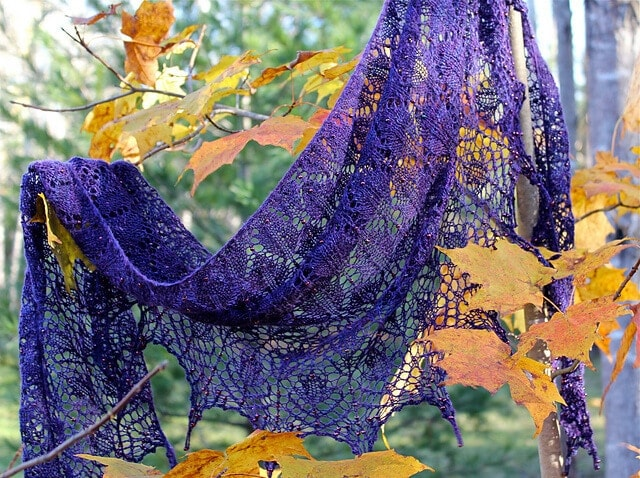 Morticia shawl, knit in Merino Silk Lace (Ultraviolet)