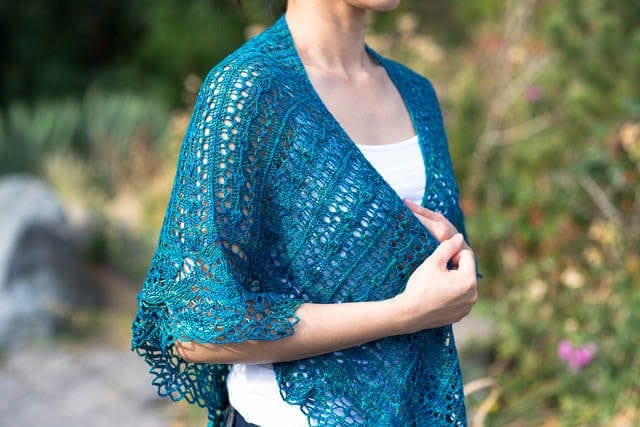 Hadria Shawl by Corrina Ferguson, knit in Merino Silk Fine (Deep Cove)