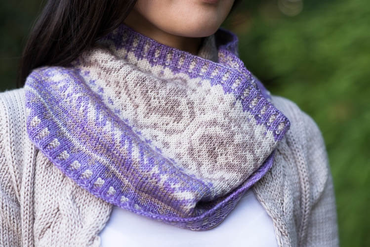 Cordatus Cowl & Mitts by Varian Brandon, knit in Tough Love Sock (Wisteria, Tumbled Stone, and Birch)