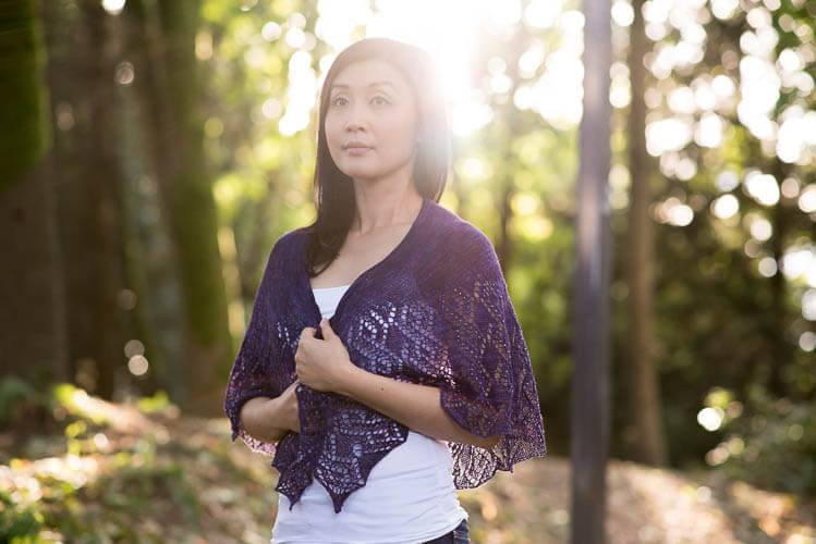 Rivoli Shawl by Anniken Allis, knit in SweetGeorgia Merino Silk Lace (Ultraviolet)