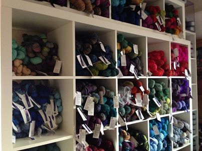 Yummy shelves of yarn abound in the Tangled Yarn stockroom!