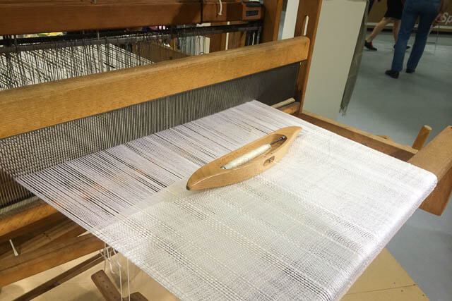 On-site weaving demonstration at Pitti Filati