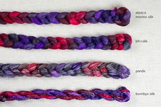 Fangtastic Four: (from top) Alpaca Merino Silk, BFL+Silk, Panda, Bombyx Silk