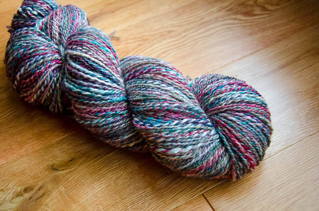 960 yards of BFL+Silk two-ply worsted weight handspun